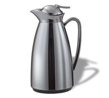 Service Ideas CJZ1CH Glass-Lined Classy Vacuum Carafe, Polished Stainless, 1 Liter