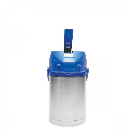Service Ideas CTAL22BLU Stainless Steel Lined Airpot with Lever, Blue Top, 2.2 Liter
