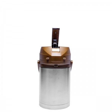 Service Ideas CTAL22BR Stainless Steel Lined Airpot with Lever, Brown Top 2.2 Liter