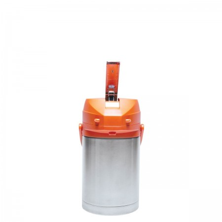 Service Ideas CTAL22OR Stainless Steel Lined Airpot with Lever, Orange Top 2.2 Liter