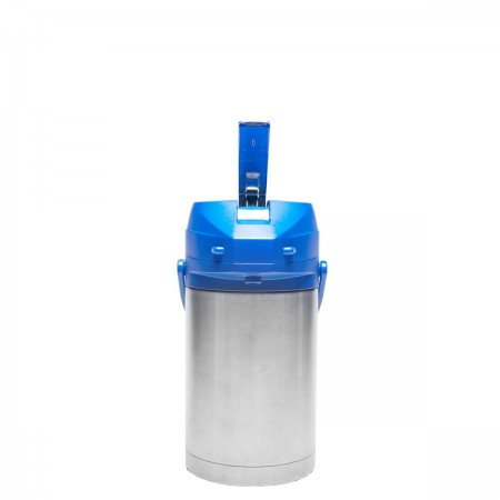 Service Ideas CTAL25BLU Stainless Steel Lined Airpot with Lever, Blue Top 2.5 Liter