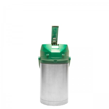 Service Ideas CTAL25GRN Stainless Steel Lined Airpot with Lever, Green Top, 2.5 Liter