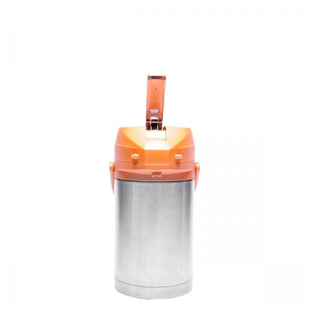 Service Ideas CTAL25OR Stainless Steel Lined Airpot with Lever, Orange Top, 2.5 Liter