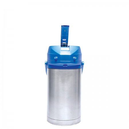 Service Ideas CTAL30BLU Stainless Steel Lined Airpot with Lever, Blue Top, 3.0 Liter