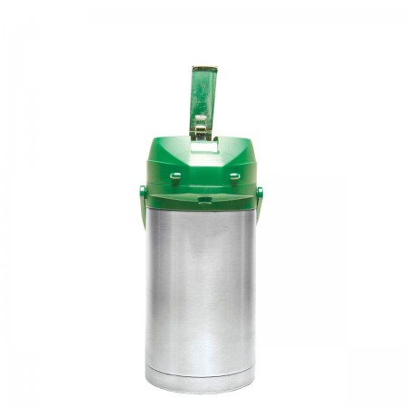 Service Ideas CTAL30GRN Stainless Steel Lined Airpot with Lever, Green Top, 3.0 Liter
