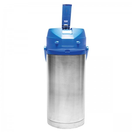 Service Ideas CTAL37BLU Stainless Steel Lined Airpot with Lever, Blue Top, 3.7 Liter