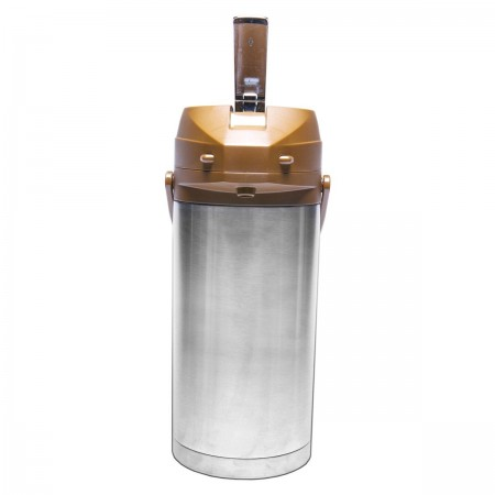 Service Ideas CTAL37BR Stainless Steel Lined Airpot with Lever, Brown Top, 3.7 Liter