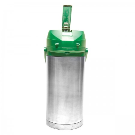 Service Ideas CTAL37GRN Stainless Steel Lined Airpot with Lever, Green Top 3.7 Liter