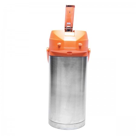 Service Ideas CTAL37OR Stainless Steel Lined Airpot with Lever, Orange Top 3.7 Liter