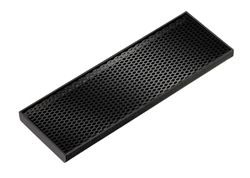 "Service Ideas DT412BL Black Styrene Rectangular Drip Tray, 12"" x 4"""
