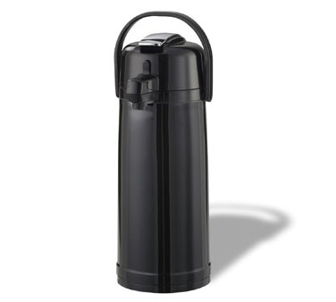 Service Ideas ECALS22PBLK Eco-Air Stainless Steel Lined Black Lever Lid Airpot 2.4 Liter