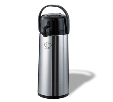 Service Ideas ECAS22S Eco-Air Stainless Steel Lined Satin Pump Lid Airpot 2.4 Liter