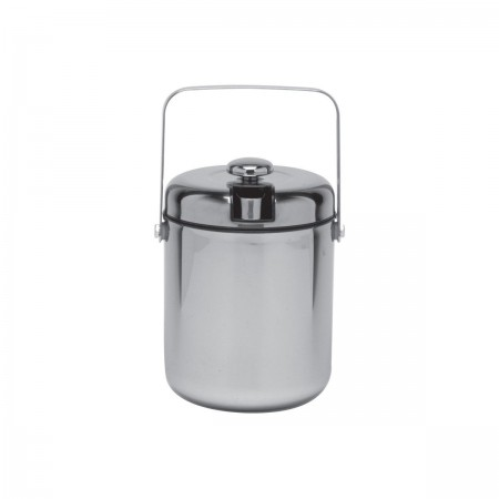 Service Ideas IBT15PS Ice Bucket with Tongs, Polished with Black Liner 1.5 Liter