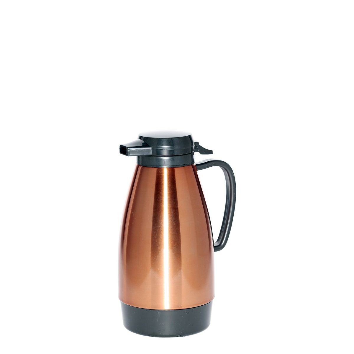 Service Ideas ML101MCPBL Coffee Server with Push Button Lid, Copper / Black, 1 Liter