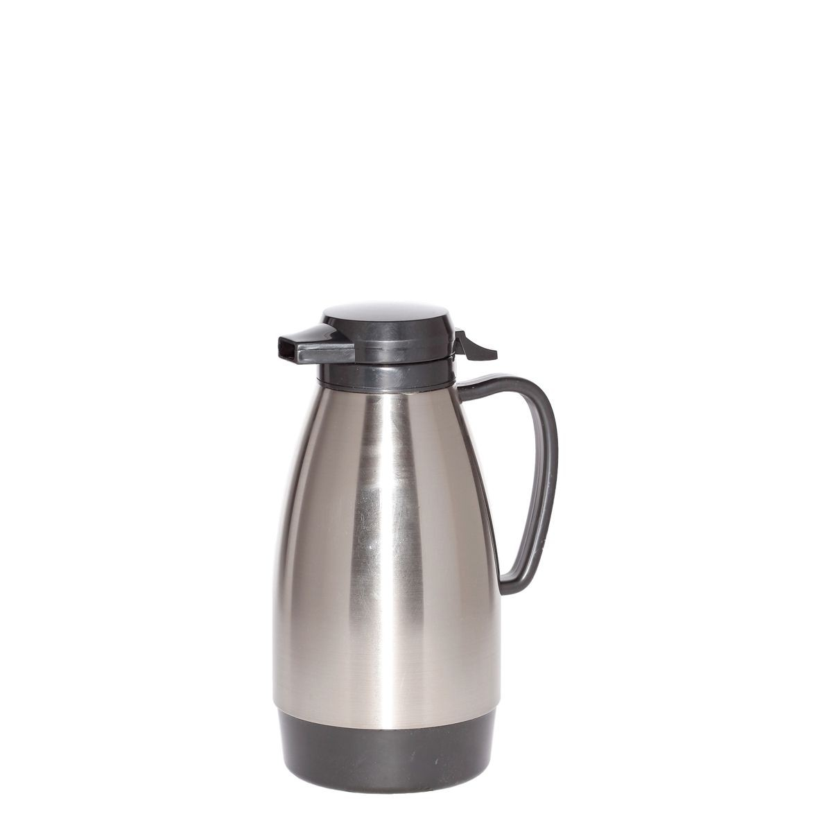 Service Ideas ML101MSSBL Coffee Server with Push Button Lid, Stainless Steel / Black 1 Liter