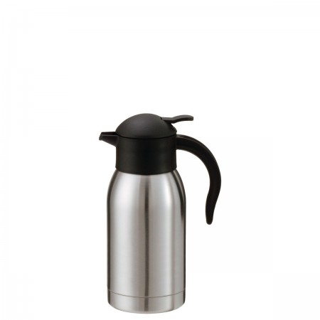 Service Ideas SJ10SS SteelVac Stainless Slim Carafe with Push Button Lid, 1 Liter
