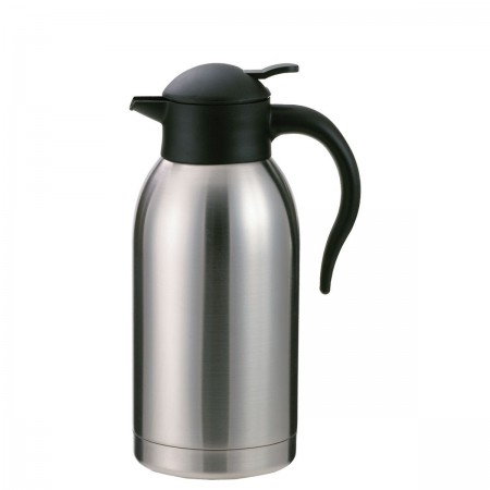 Service Ideas SJ20SS SteelVac Stainless Slim Carafe with Push Button Lid, 2 Liter
