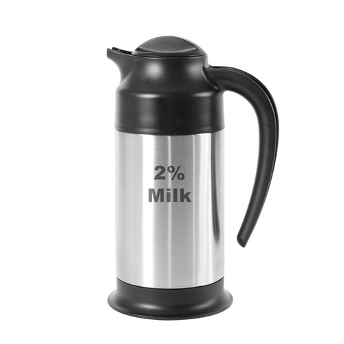 Service Ideas S2SN702%ET Steelvac Etched Stainless Steel '2% Milk' Creamer, 0.7 Liter