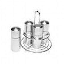 Service Ideas STC7VANILLA Stainless Steel 7-Hole Condiment Shaker with Vanilla Imprint
