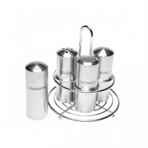 Service Ideas STOCFCR Crested Stainless Steel Coffee Condiment 4 Shaker Caddy