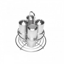 Service Ideas STOCFF Stainless Steel Coffee Condiment Spice 4-Shaker Set with Holder
