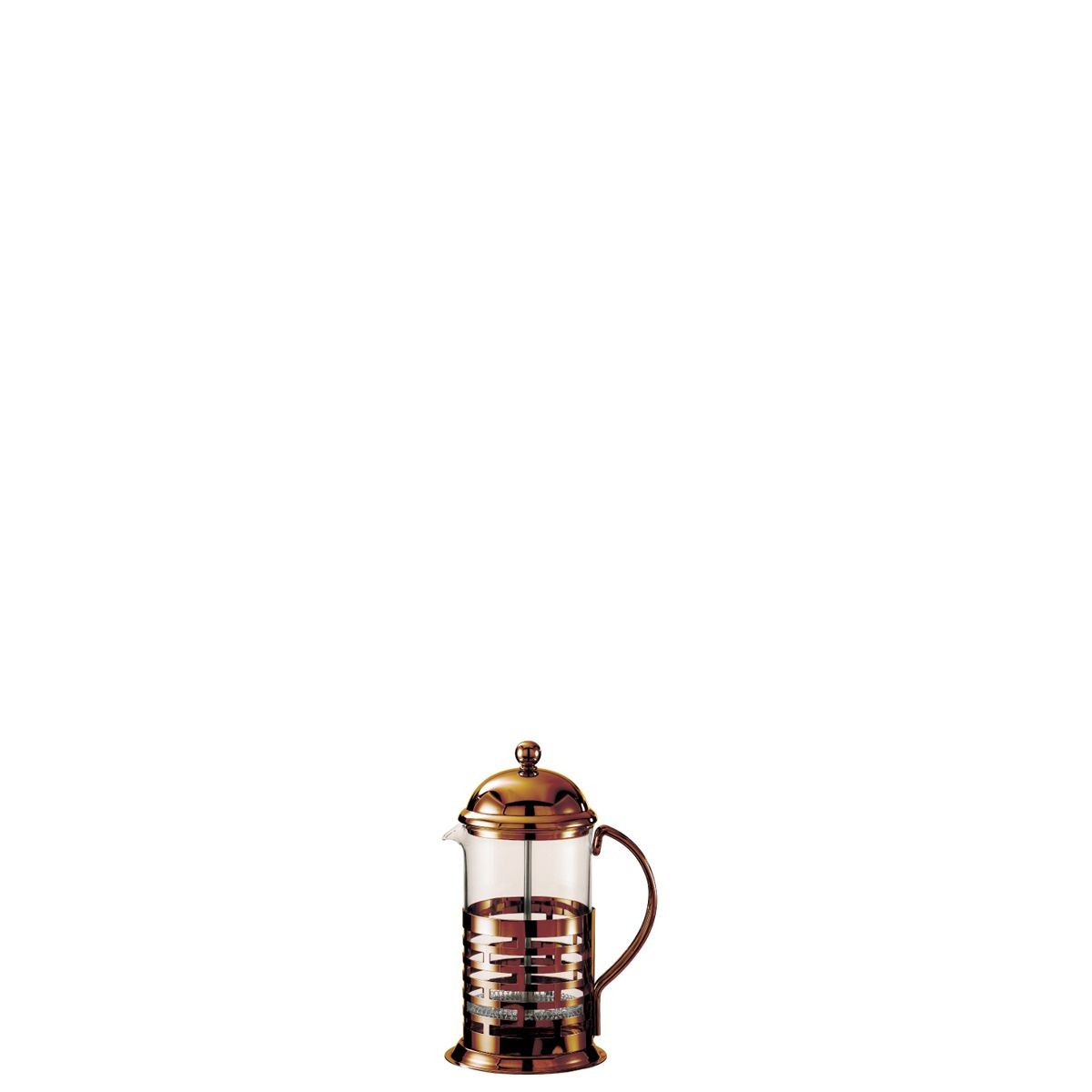 Service Ideas T277BRNZ Glass and Bronze Finish Stainless Steel Coffee Press, 0.35 Liter