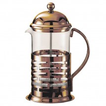 Service Ideas T477BRNZ Glass / Bronze Finish Stainless Steel Coffee Press, 0.6 Liter