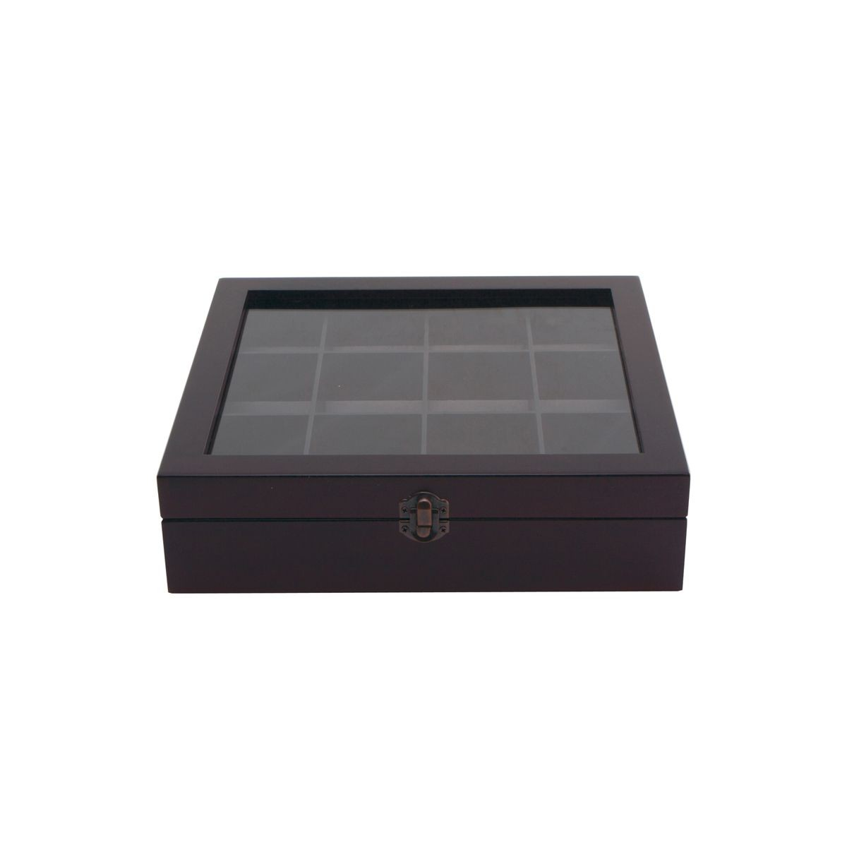 Service Ideas TB012 Beechwood Tea Chest with Window, 12 Compartments