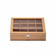 Service Ideas TB012BN Bamboo Wood Tea Chest with Window, 12 Compartments
