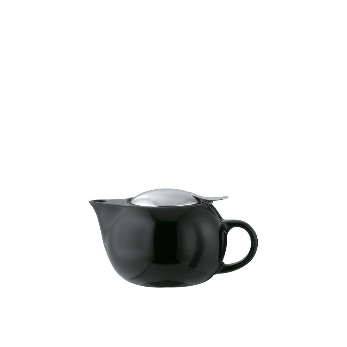 Service Ideas TPC10BL Black Ceramic Teapot with Lid, Infuser Basket, 10 oz.