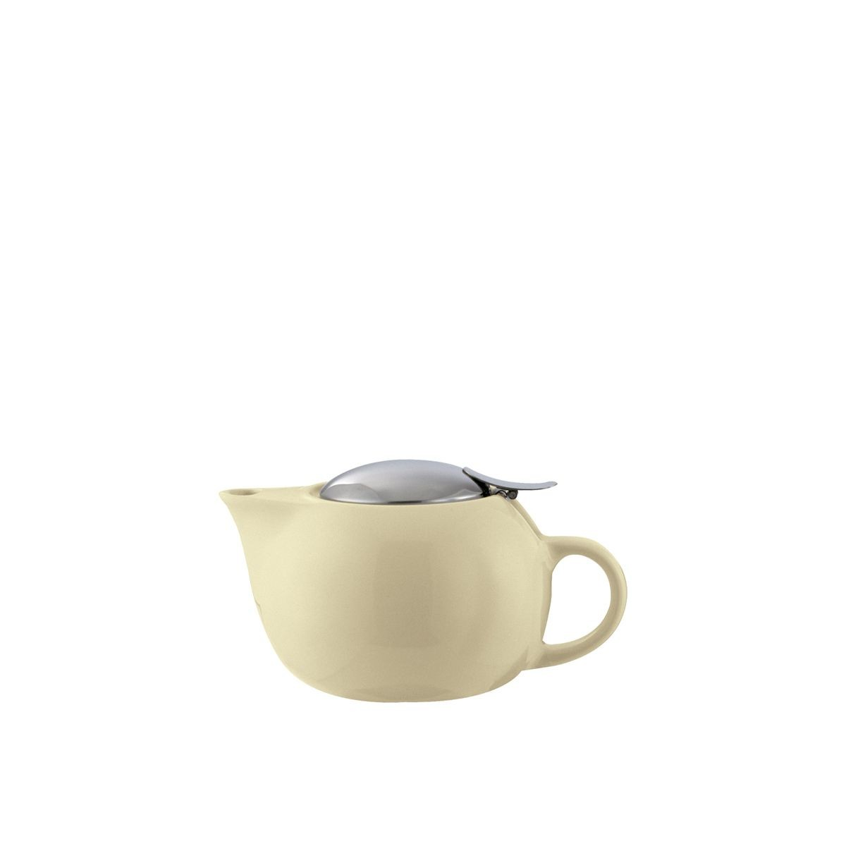 Service Ideas TPC10CM Cream Ceramic Teapot with Lid, Infuser Basket, 10 oz.