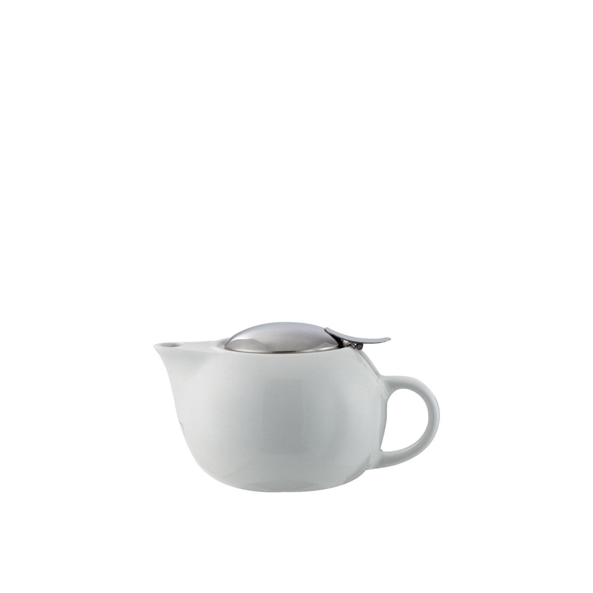 Service Ideas TPC10WH White Ceramic Teapot with Lid, Infuser Basket, 10 oz.