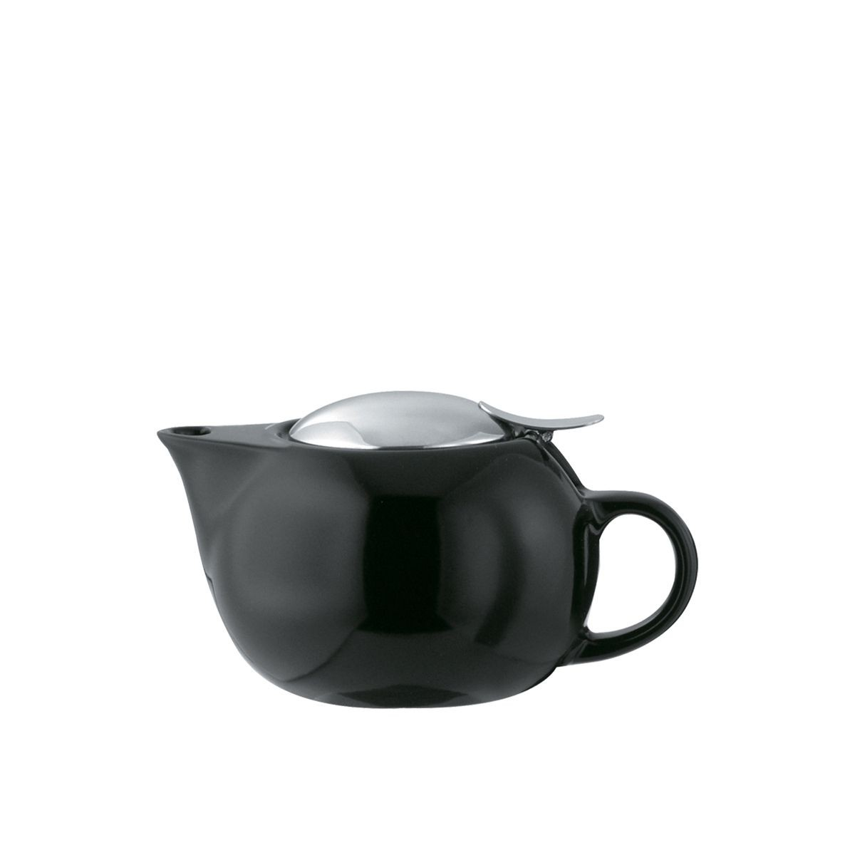 Service Ideas TPC16BL Black Ceramic Teapot with Lid, Infuser Basket, 16 oz.