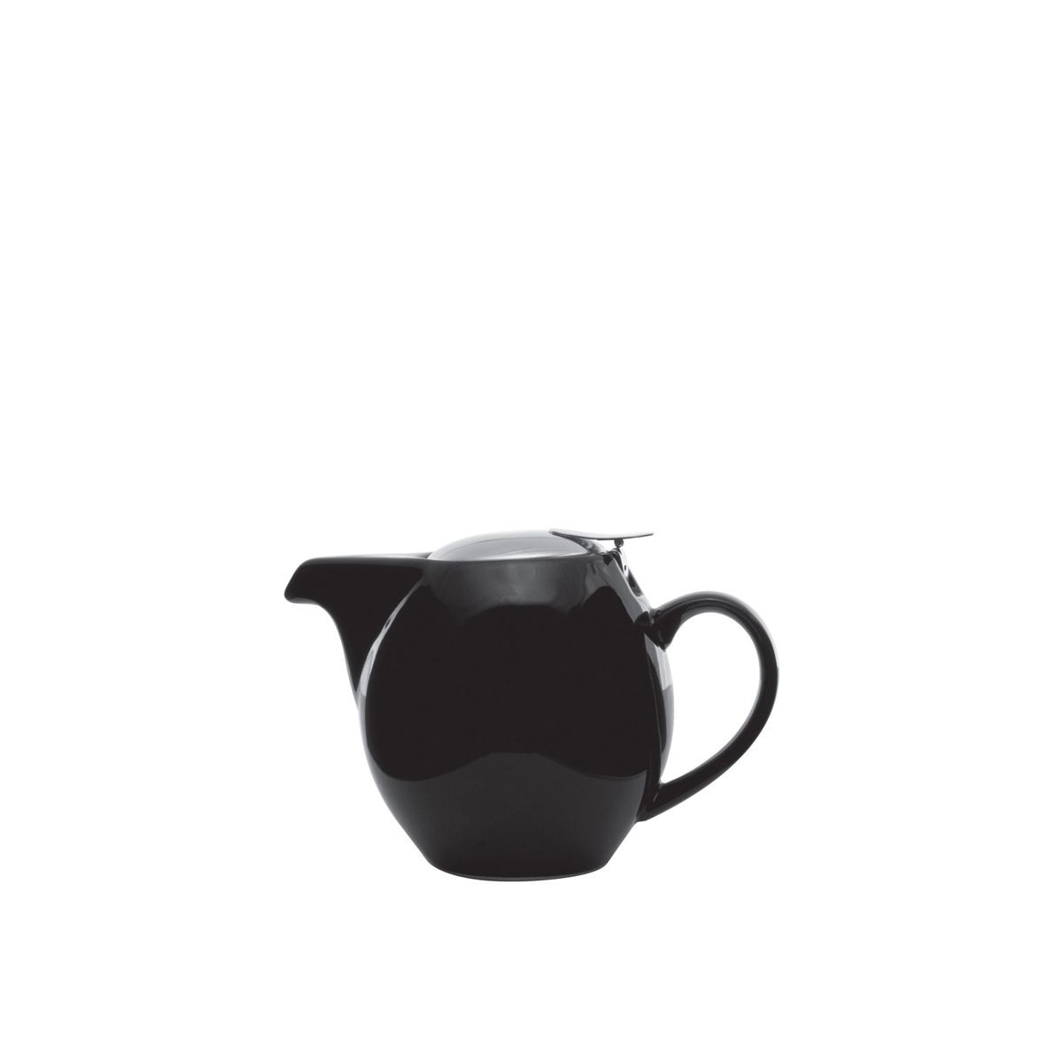Service Ideas TPCV16BL Oval Black Ceramic Teapot with Lid and Infuser 16 oz.