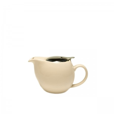 Service Ideas TPCV16CM Oval Cream Ceramic Teapot with Lid and Infuser 16 oz.