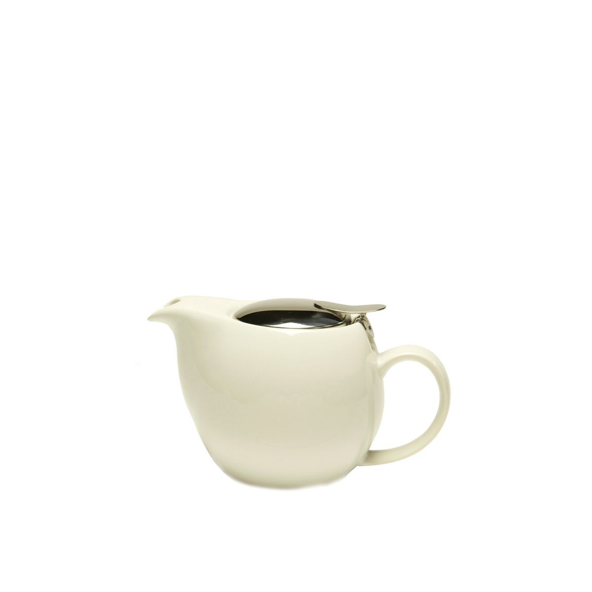 Service Ideas TPCV16WH Oval White Ceramic Teapot with Lid and Infuser 16 oz.