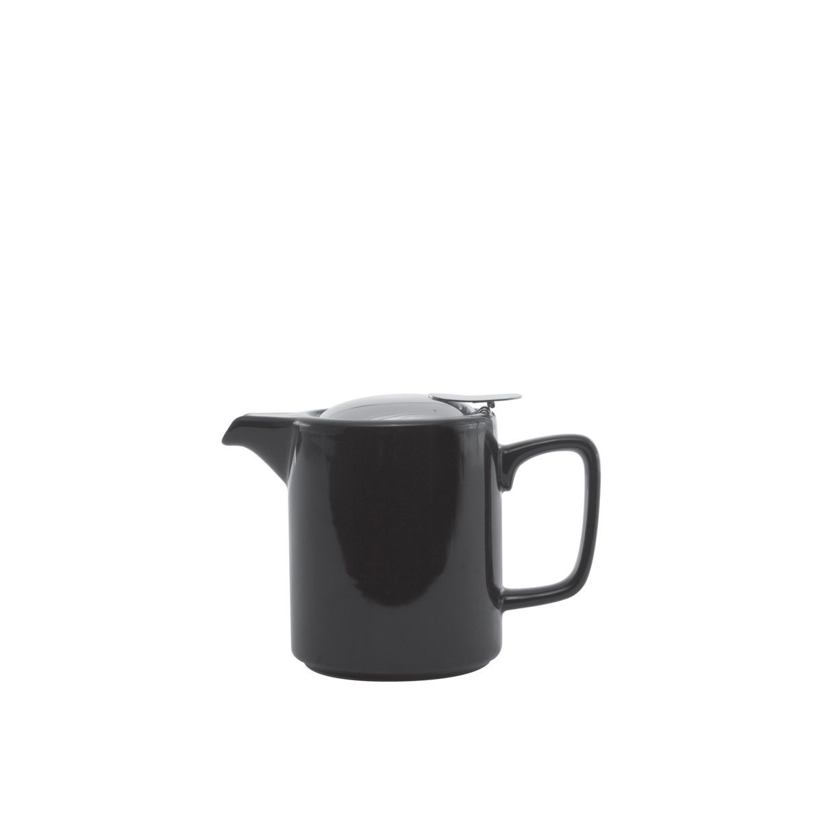 Service Ideas TPCW16BL Square Washington Style Black Ceramic Teapot, 0.47 Liter