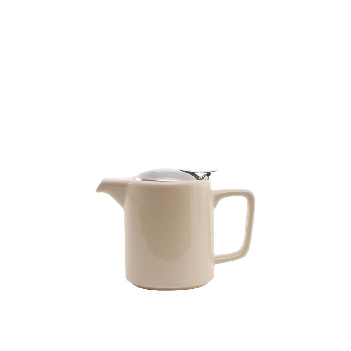 Service Ideas TPCW16CM Square Washington Style Cream Ceramic Teapot, 0.47 Liter