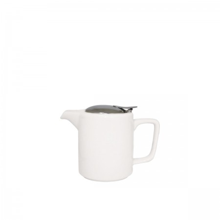 Service Ideas TPCW16WH White Ceramic Square Teapot, 16 oz.