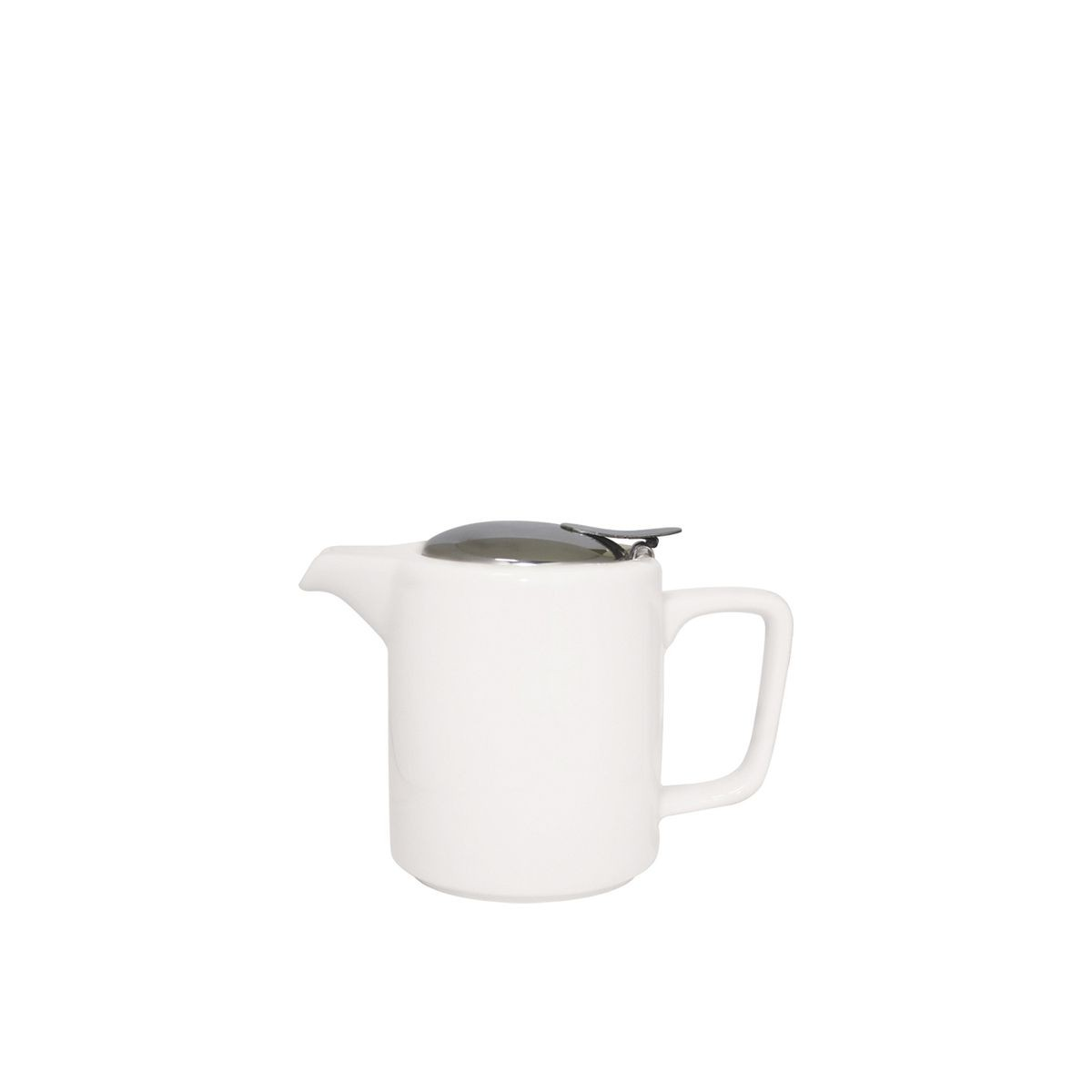 Service Ideas TPCW16WH Square Washington Style White Ceramic Teapot, 0.47 Liter