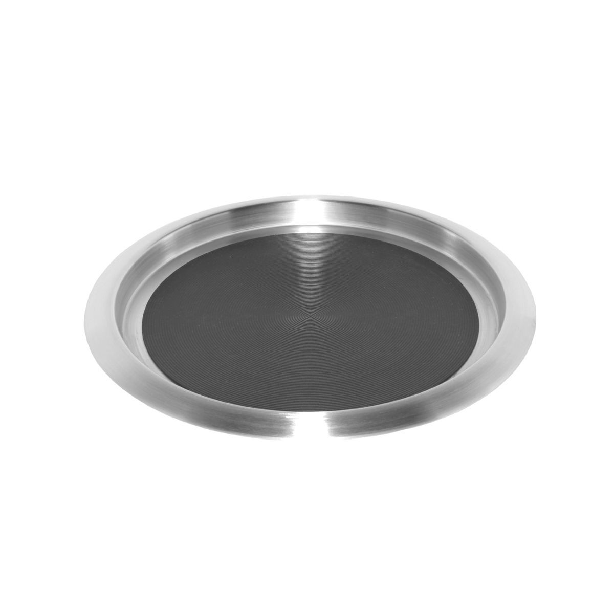 Service Ideas TR1412SR Non-Slip Tray with Solid Rubber Insert, Stainless 14""