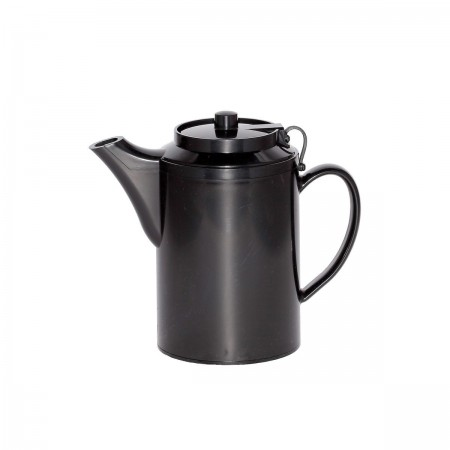 Service Ideas TST612BL Double Wall Black Plastic Teapot with Tether 16 oz.