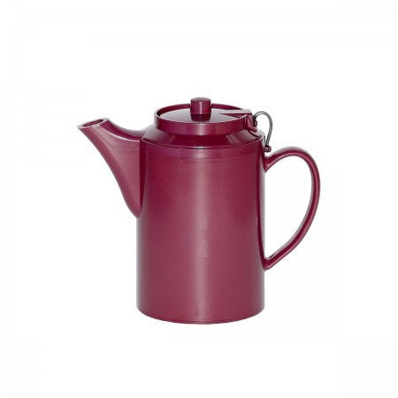 Service Ideas TST612BU Double Wall Burgundy Plastic Teapot with Tether 16 oz.