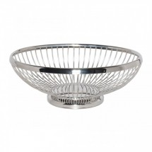 Service Ideas WBBO9PS Polished Stainless Oval Wire Basket, 9""