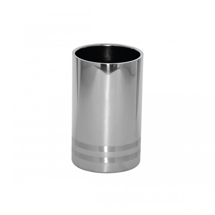 Service Ideas WC2LBPS Polished Stainless Wine Chiller with Brushed Band Accent