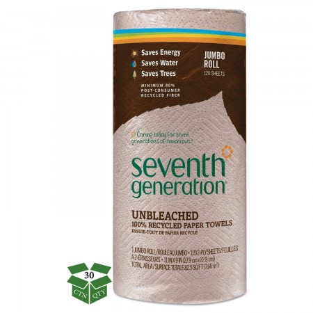 Seventh Generation 100% Recycled Natural Unbleached Paper Towel Rolls, 30 Rolls/Carton