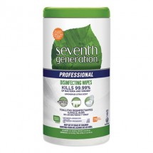 """Seventh Generation Disinfecting Multi-Surface Wipes, 8"""" x 7"""" Lemongrass Citrus, 70/Canister, 6/Carton"""