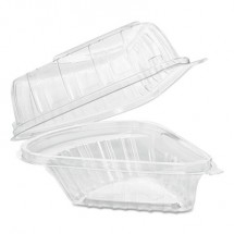 Dart Showtime Clear Hinged Plastic Pie Wedge Containers , 6.67 oz., 250/Carton