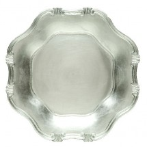 The Jay Companies A275HR Silver Baroque Polypropylene Charger Plate 13""