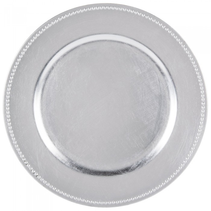 """The Jay Companies 1180006LD-F Round Silver Beaded Charger Plate 13"""""""